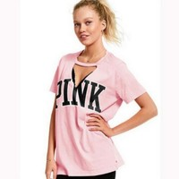 Victoria's secret Pink Leisure v collar short sleeve tee top