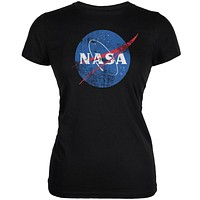 NASA Distressed Logo Black Juniors Soft T-Shirt