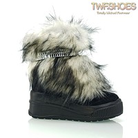 Money Fur Cyber Boots Black Furry Bling Strap Platform Boots 6 -11