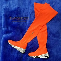 Posse Neon Orange Lycra Thigh High Platform Sneaker Boots 6 -11