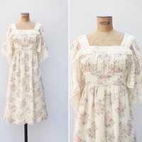1970s Dress - Vintage 70s Cream Floral Angel Sleeve Dress - My Morning Song Dress