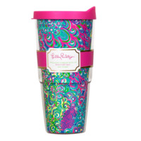 Lilly Pulitzer Insulated Tumbler With Lid-Lilly's Lagoon