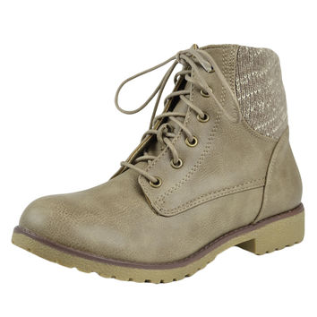 Womens Ankle Boots Knitted Ankle Lace Up Casual Riding Shoes Taupe SZ