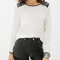White Long Sleeve Lace Accent Blouse