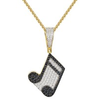 Designer Music Note Melody Charm Bling Pendant