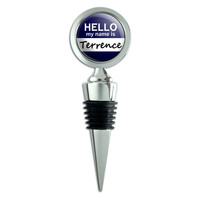 Terrence Hello My Name Is Wine Bottle Stopper