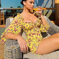 Summer women new  floral print long sleeve dress Yellow