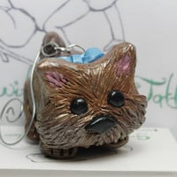 Silky Terrier Dog Puppy Christmas Ornament Polymer clay sculpture