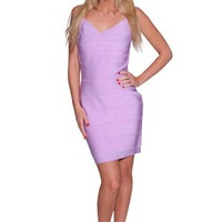 Beautifly Women's Lavender Lux Bandage Cocktail Dress