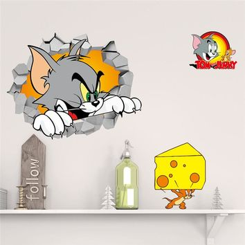Tom And Jerry Cartoon Smashed Wall Decal Poster 3D Art Stickers Cat Mouse Vinyl Room Baby Nursery Home Decor Mural Wallpaper