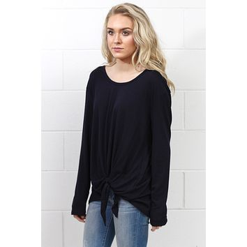 Side Tie Long Sleeve Top {Eggplant} - Size SMALL