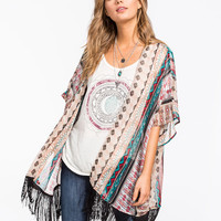 Socialite Linear Print Womens Fringe Kimono Multi  In Sizes