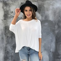 Daily Dolman Jersey Top in Ivory