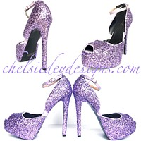 Lilac Glitter High Heels - Open Toe Strappy Shoes - Purple Platform Prom Pumps