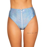 Light Blue Zipper Closure Rave High Waist Shorts