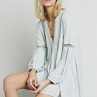 Free People Womens Babydoll Lace Inset Swing Tunic