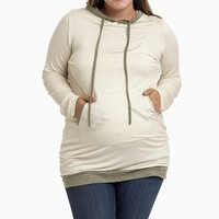 Beige-Hooded-Plus-Size-Maternity-Tunic