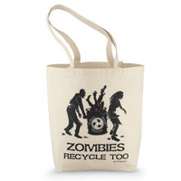 Zombie Tote Bag                                    - New Age, Spiritual Gifts, Yoga, Wicca, Gothic, Reiki, Celtic, Crystal, Tarot at Pyramid Collection