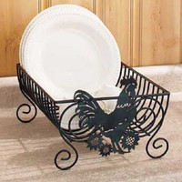Rooster Kitchen Decor Dish Rack Black Metal Country Farm Rustic Primitive NEW