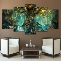 Canvas Posters Wall Art HD Prints Pictures 5 Pieces Enchanted Tree Scenery  Paintings Framework Living Room Decor