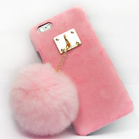 Furry Rabbit Tail Case Cover for iPhone 5s 6 6s Plus Gift-152