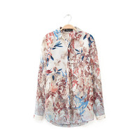 Floral Print Long-Sleeve Collared Shirt