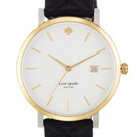 Women's kate spade new york 'metro grand' quilted strap watch, 38mm - Black/ Gold