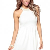 Elegant In Pearls Cream Skater Dress @ Cicihot sexy dresses,sexy dress,prom dress,summer dress,spring dress,prom gowns,teens dresses,sexy party wear,ball dresses