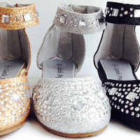 Girls Little Angel Paige809E WEDDING PAGEANT Rhinestone Ankle Strap Bling Flats Sandals Shoes
