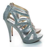 Abyss Rhinestone Sparkling Cut Out Strappy Stiletto High Heel Dress Sandals