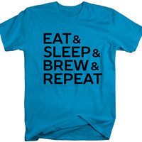 Men's Home Brew T-Shirt Eat Sleep Brew Repeat Micro Brewing Beer Shirts Hipster Gift Idea