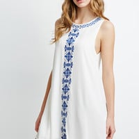 Embroidered Crepe Trapeze Dress