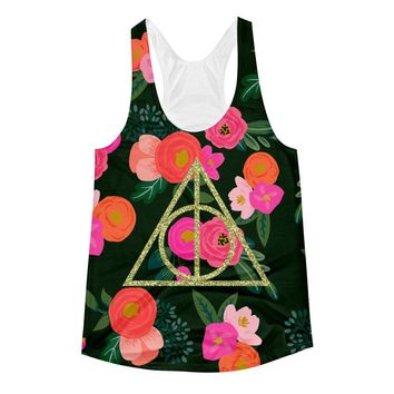 Deathly Hallows Glitter and Floral Women's Racerback Tank