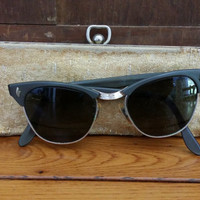 Vintage 1950s UOC Cat Eye Grey Silver Frames Retro Eyeglasses Sunglasses Eyewear