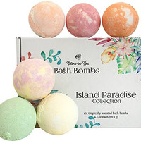Bath Bomb Gift Set - Tropical Fruit Fragrances - Made in the USA - by Sisters in Spa