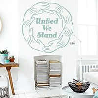 Wall Vinyl Sticker Decal Circle of Hands and Text United We Stand Nursery Room Nice Picture Decor Mural Hall Wall Ki638