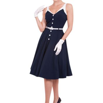 Vintage Vixen Pinup Sailor Navy Sea Breeze Swing Dress