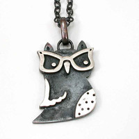 Silver Owl with Horn Rimmed Glasses Pendant by SwankMetalsmithing
