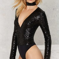 Find What You're Sequin Bodysuit - Black