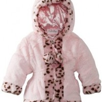 Pacific Trail - Kids Baby-Girls Infant Faux Fur Hooded Jacket with Leopard Print Trim, Pink, 24 Months