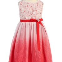 Red Ombré Tulle Girls Dress with Rosette Bodice 2T-14