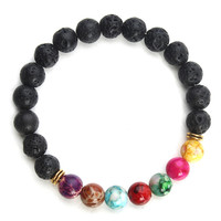 New Natural Black Lava Stone Bracelets 7 Reiki Chakra Healing Balance Beads Bracelet for Men Women Stretch Yoga Jewelry
