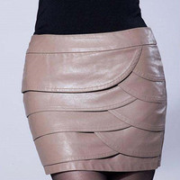 Wave Layered Leather Skirt
