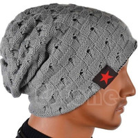 Men Women Skull Chunky Knit Beanie Reversible Baggy Cap Warm Winter Unisex Hat = 1958177732