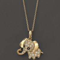 """Diamond Elephant Pendant Necklace in 14K Yellow Gold, .20 ct. t.w., 16.5""""   Bloomingdale's"""