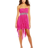 Sequin Hearts by My Michelle Juniors Sweetheard Neckline High-Low Dress