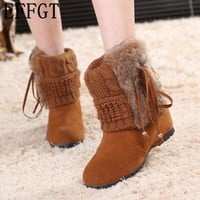 EFFGT 2017 New style fashion women shoes fur female warm ankle boots women boots snow boots increase boots H119