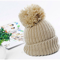 Chunky Pom Pom Hat Knit Beige Hat Slouchy Beanie Fall Winter Hat Women Men Clothing Fashion Accessories Gift Ideas