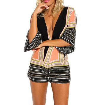 Sexy Women Deep V neck Print Backless Mono Jumpsuit 3/4 Sleeve Rompers FREE SHIPPING