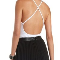 Strappy Backless Bodysuit by Charlotte Russe - White